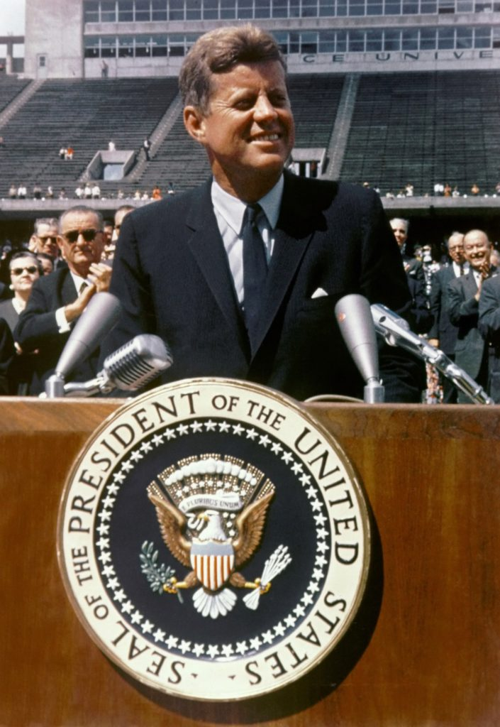 President John F. Kennedy speaking at Rice University on September 12, 1962 (Credit: NASA)