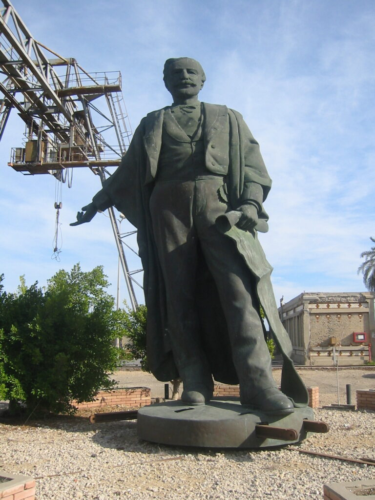 Statue of Ferdinand de Lesseps in a garden at Port Said Shipyard