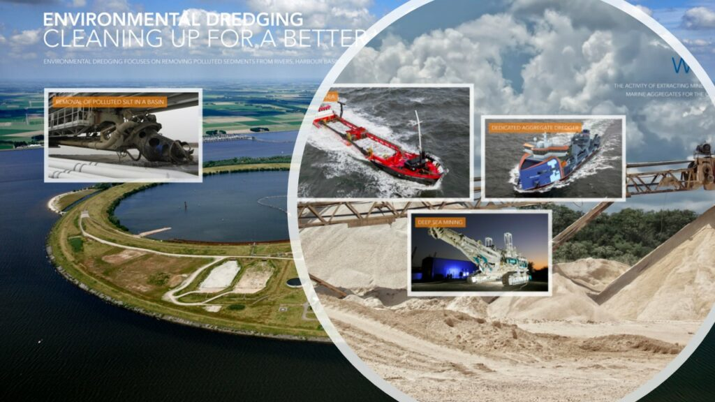Pictures illustrating the future of dredging industry
