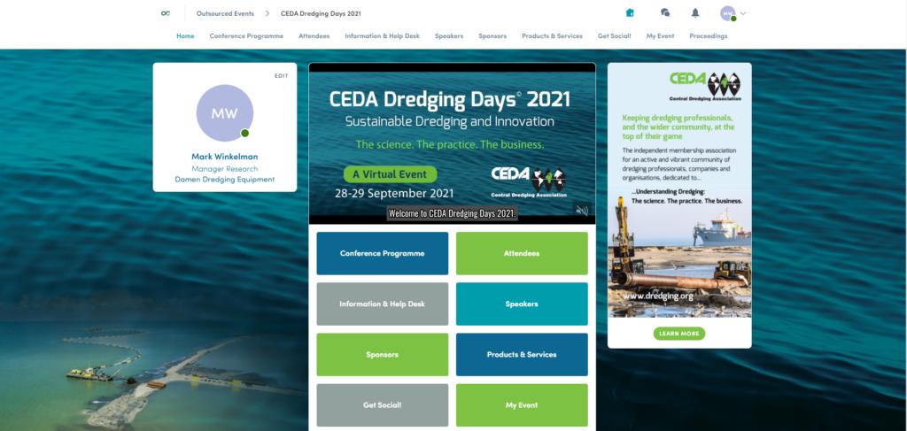 Home page of your CEDA Dredging Days on the Swapcard platform (Credit: CEDA)